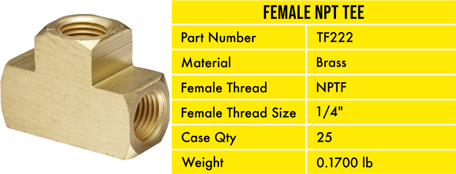 TF222 Pneumatic Air Hose Brass Tee