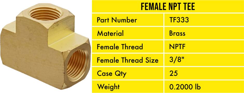 TF333 Pneumatic Air Hose Brass Tee