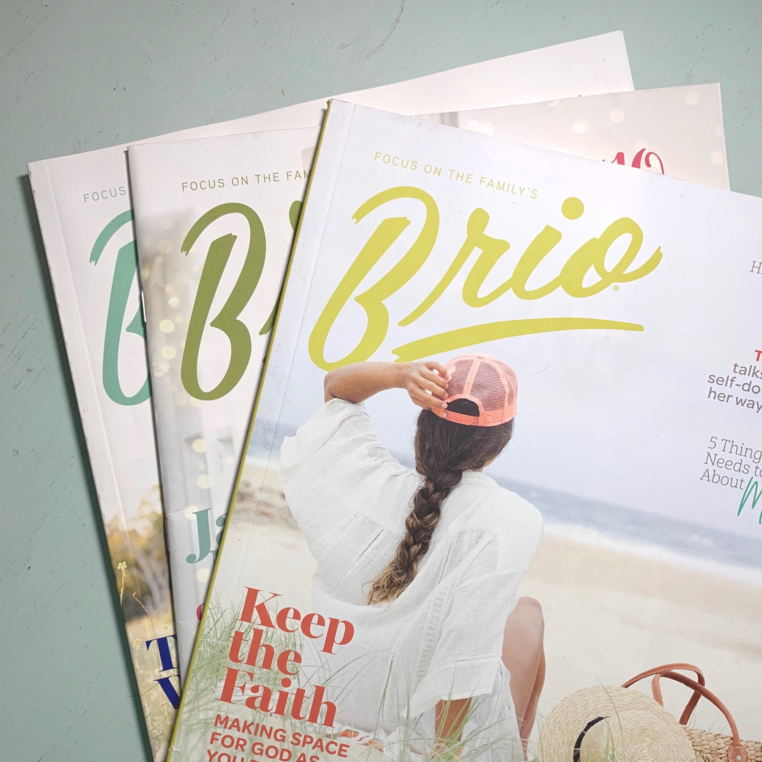 Brio Magazine   We're here to help you grow in your faith, encourage healthy relationships and address real-life topics that will help you navigate the teen years. Growing into womanhood is a great adventure and the  Brio  team wants to journey with you. Let's talk culture, body image, social media, boys and more as we filter it all through our shared faith in Jesus Christ.  for more information check out  https://www.focusonthefamily.com/parenting/brio-magazine/   (description from Focus on the Family website)