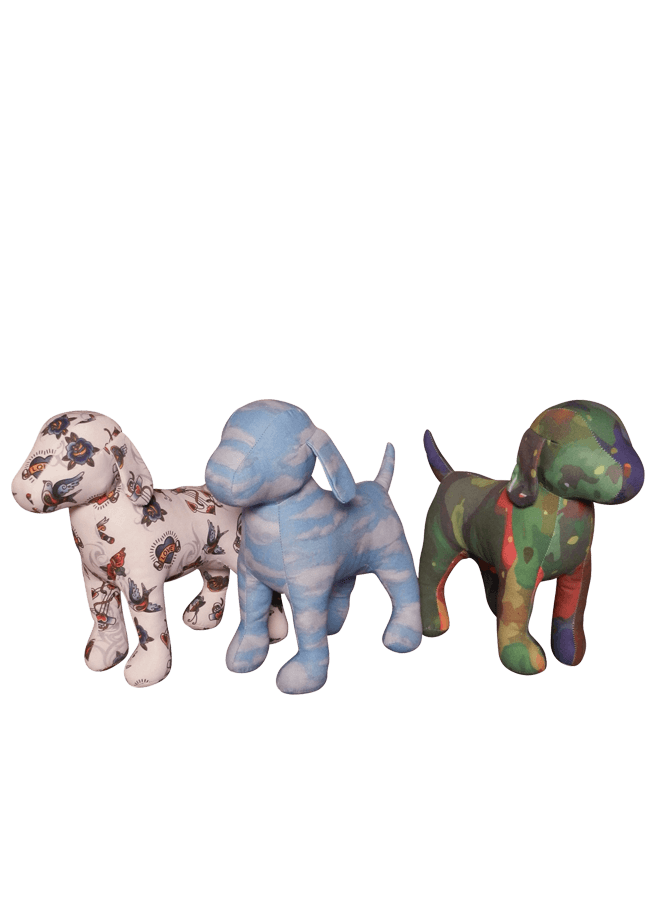 "FABRIC COVERED DOG    CUSTOMIZED WITH CLIENTS FABRIC   Item# FD-DOG3  Height 11 ¼""  Width 4 ½""  Length 13 ½"""
