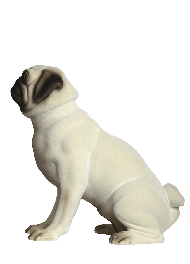 "PUG- WALLACE POS. 1    REALISTIC FLOCKED FINISH   Height 15 ¼""  Width 9 ¾""  Length 13 ¼"""