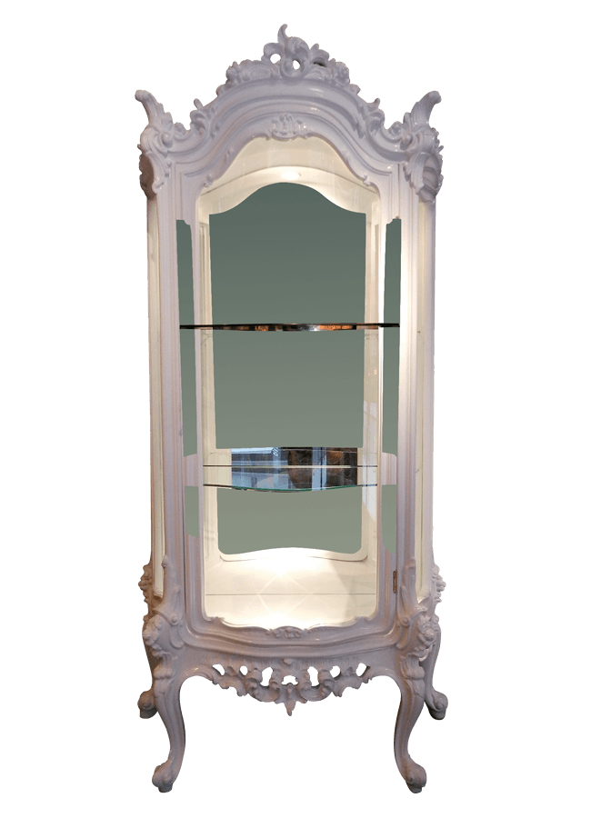 Residential Collection – Curio   ITEM#: 4410-A  6 ft. tall stand with glass shelves.  Other finishes are available