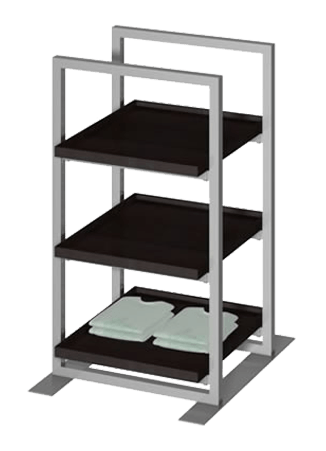 """Floor Collection – Double Slotted Freestanding Merchandiser   ITEM#: FS001A  32"""" x 32"""" x 54"""", SF004W(Fold fixture tray shelf) 32"""" x 32"""" x 3"""" square  Other finishes are available"""