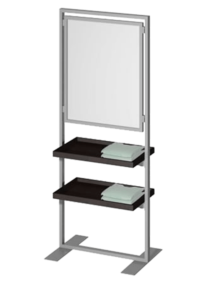 """Floor Collection – Slotted Frame Merchandiser  ITEM#: FS004A, SH001A  22"""" x 72"""" Hang/Fold Slotted Graphic Holder, SH001A - 22"""" x 28"""" Graphic Slotted Frame, SF005P - 24"""" x 32"""" Shelf  Other finishes are available"""