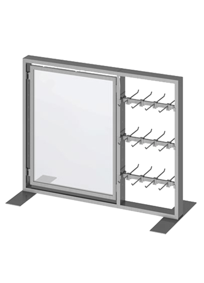 """Floor Collection – Slotted Tabletop Frame   ITEM#: TT001A, SH001A, PHD01, CB003A, CB004A  TT001A - 40"""" x 32"""" Ttop merchandiser slotted grpahic holder, SH001A - 22"""" x 28"""" graphic frame double peg hook, PHD01 - 6"""" DBL peg hook slotted square crossbar, CB003A - 13"""" crossbar slotted round crossbar, CB004A - 13"""" Crossbar  Other finishes are available"""