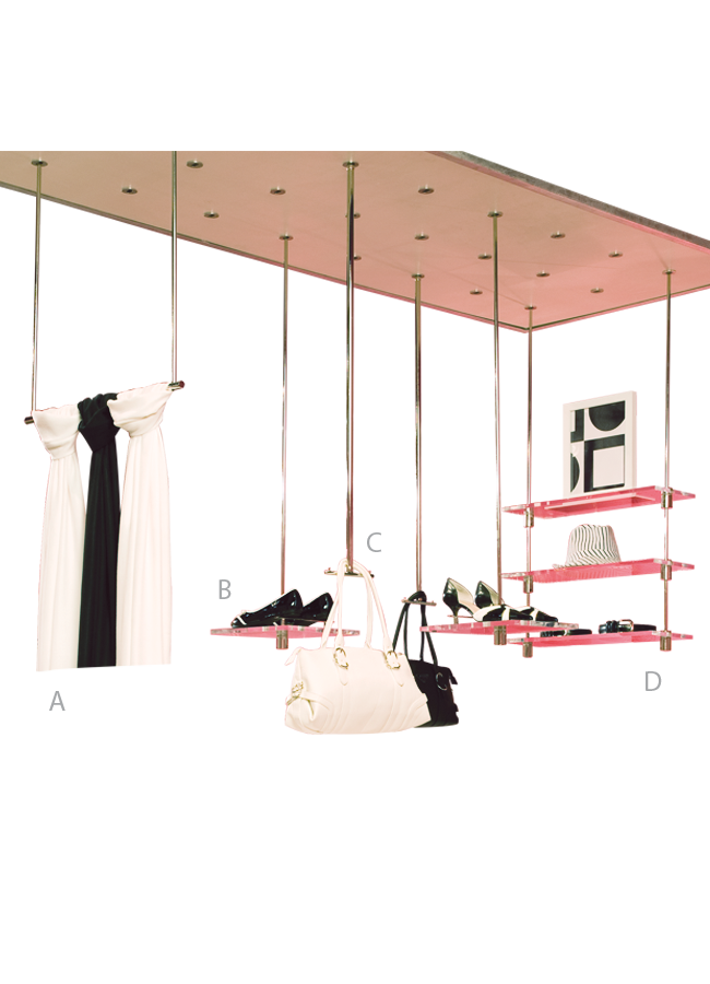 """HANGING SYSTEM    HANGER HALF    HANGING PUCK PANEL  ITEM#: S0801007  Puck Panel 0.5"""" h x 108"""" w x 36"""" d  A. WHS-08, B.WHS-15, C.WHS-04, D. WHS-07  Other finishes are available"""