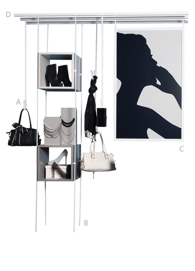 """HANGING TRACK SYSTEM   CEILING ITEM 18  CEILING ITEM 18 Eye Hook Telescopic Bar GH634A 24""""-46""""  A. Post Spring Clamp AC120A, B. Hanging Cube CC002A 12″ x 12″ x 12″ C. Eye Hook Graphic Holder SF007A  Other finishes are available"""