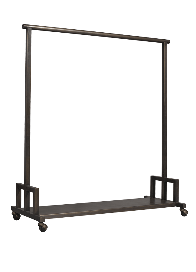 """Mercantile Collection – Rolling Rack   48""""w x 20""""d x 56""""h  Other finishes are available"""