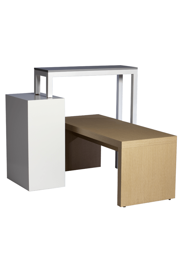 """Modulaire Collection – Tables & Cube   Nesting Table - 60""""w x 18""""d x 24""""h, Pivot Table - 36""""w x 14""""d x 46""""h, Large Cube - 16""""w x 24""""d x 36""""h  Other finishes are available"""