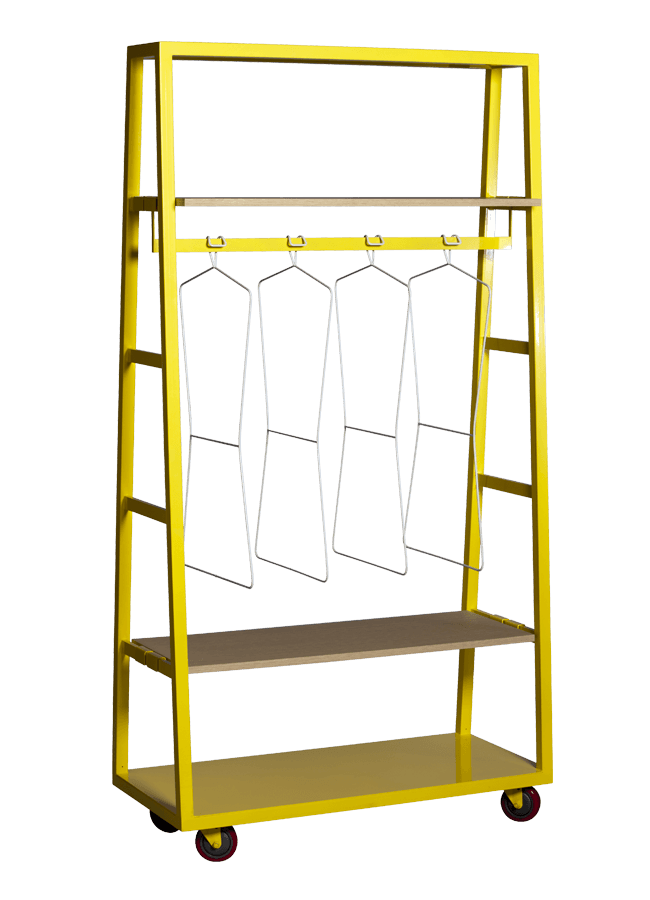 """Modulaire Collection – Rolling Rack   ITEM#: ROLLING RACK  40""""w x 18""""d x 72""""h  Other finishes are available"""