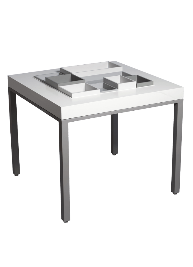 """Modulaire Collection – Square Table & Trays   Square Table - 40"""" x 40"""" x 34""""h available open sell or solid  Other finishes are available"""