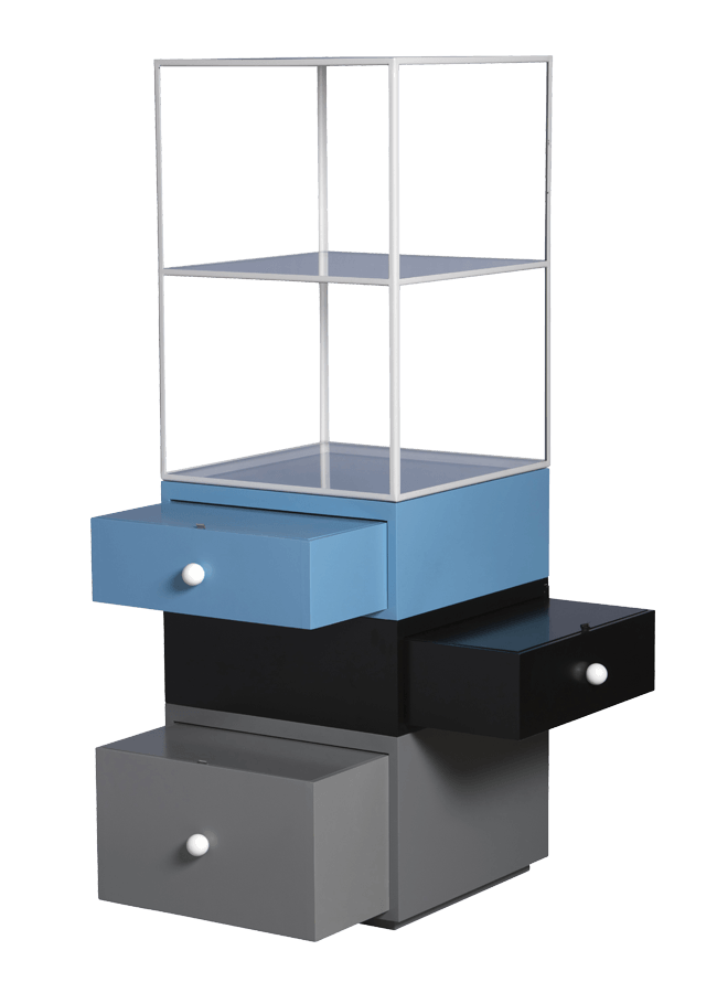 """Modulaire Collection – Tower Display   Stacked Tower Base: 20"""" w x 20"""" d x 13"""" h 