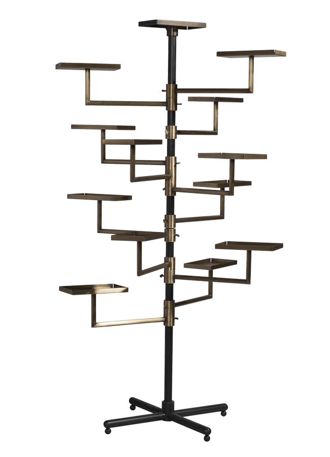 """Mercantile Collection – Multi Tiered Display Stand   35""""w x 17""""d x 72""""h  Other finishes are available"""