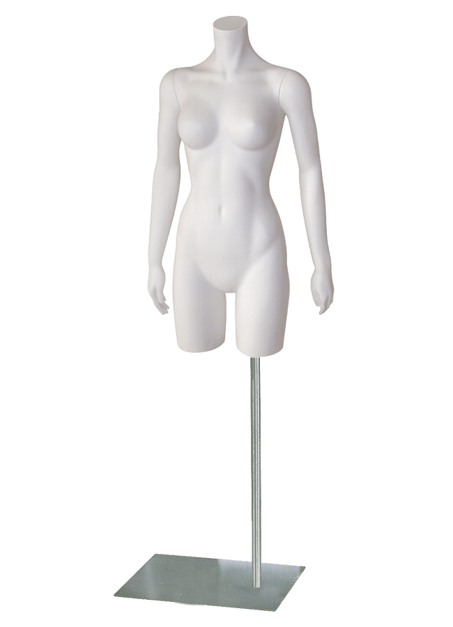 "BERNSTEIN B-LASTIC MANNEQUINS & FORMS - FEMALE   Item# FP7-34-A  Arms straight  height 34""  bust 33 ½""  waist 23 ½""  hip 35 ½""  Base: M062 16"" x 13"" Satin nickel"