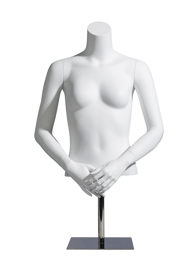 "MCMF-F1001 HALF    Measurements:  Height 24"" (form only)  • Bust 32""  • Waist 26""  Base:   10"" sq. Metal-HALF"