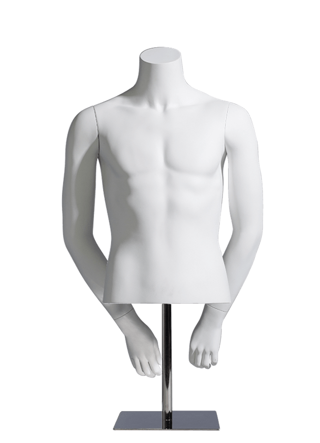 "MCMF- M0500-HALF    Measurements: Height 27"" (form only)    • Chest 37 ¾""    • Waist 30"" Base: 10"" sq. Metal    Note: Fibergla"