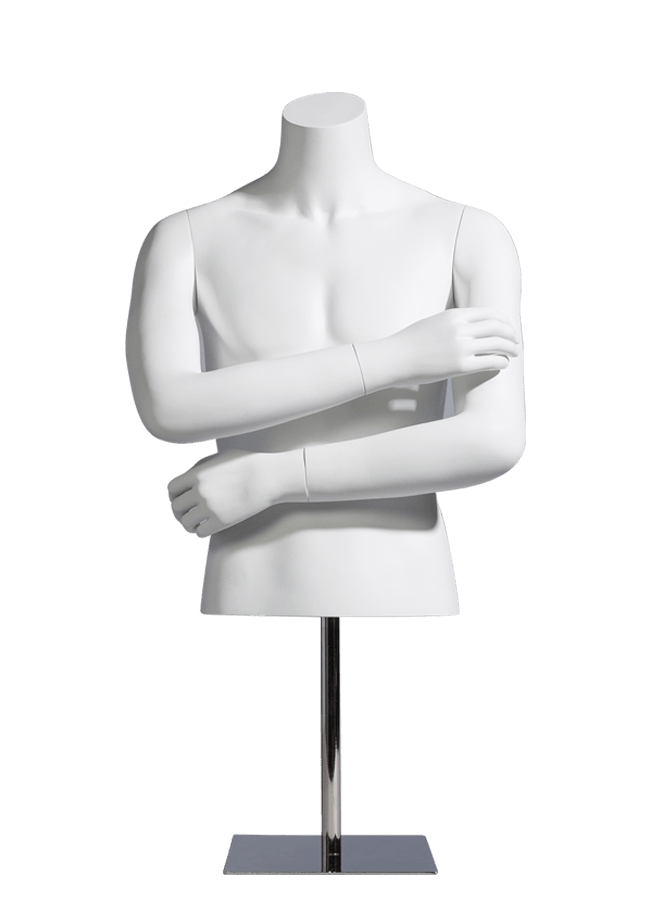 "MCMF- M0600-HALF    Measurements:  Height 27"" (form only)  • Chest 37 ¾""  • Waist 30"" Base :  10"" sq. Metal  Note :  Fibergla"