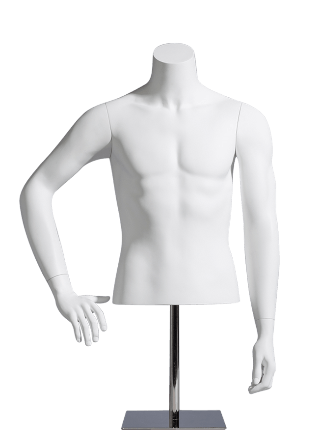 "MCMF- M1001-HALF    Measurements:  Height 27"" (form only)  • Chest 37 ¾""  • Waist 30"" Base :  10"" sq. Metal  Note :  Fibergla"