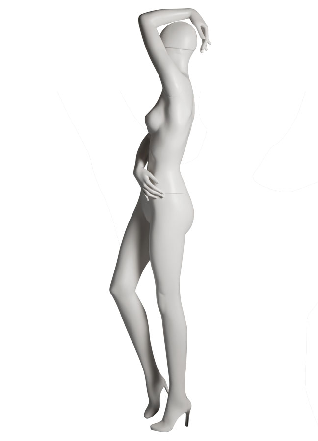 "SHADE Pose 3 L side   Measurements:  Height 74""  Bust 32-1/4""  Waist 24-7/8""  Hip 36-1/2""  Footprint 9-1/2""  Heel 4"""