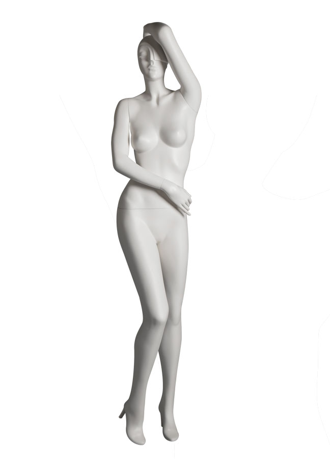 "SHADE Pose 3 FRONT   Measurements:  Height 74""  Bust 32-1/4""  Waist 24-7/8""  Hip 36-1/2""  Footprint 9-1/2""  Heel 4"""