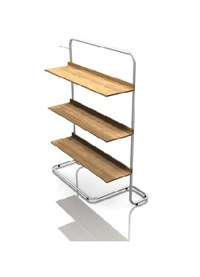 "RIBBON MC-CC05-66  Hang Fixture w/ Shelves  Fixture: 48"" w x 24"" d x 66"" h  Shelves: 39"" x 15"""