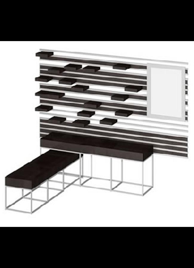 """WALL ITEMS 6  Wall Rail  WL301A 96"""" x 3"""" x 2"""" Double Wall Rail Rail Shelf: SF003W 5"""" x 15"""" Shelf  Cage Table Low: TB001SW 24"""" x 32"""" x 60"""" Nest Table Cage Table High: TB002SW 24"""" x 40"""" x 72"""" Nest Table"""