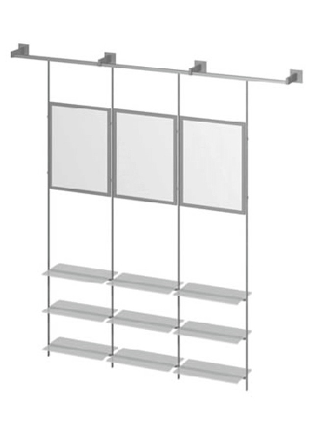 "CEILING ITEM 2  Channel Wall Mount  AC200A 96"" Aluminum, Black, White, Silver  Eye Hook Graphic Holder: GH175A 22"" x 28"" Aluminum, Black, White, Silver  Eye Hook Shelf: GH228P 23 ¾"" x 15"" x 3/8"" Frosted Plexi, Aluminum, Black, White, Silver  Eye Hook Rod: GH632A 96"" Aluminum, Black, White, Silver"