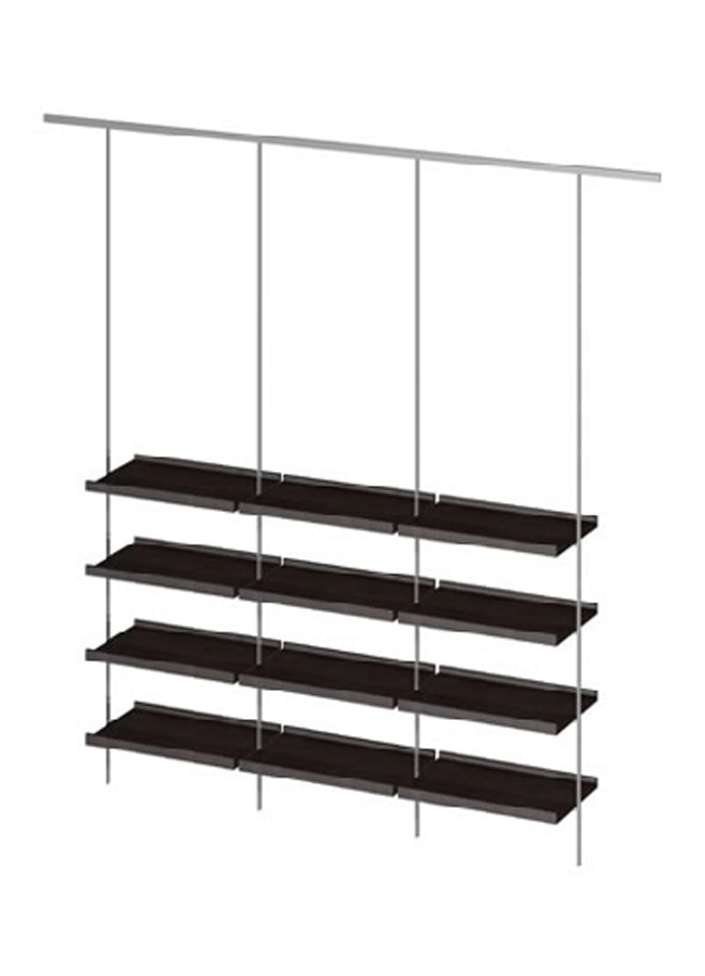 "CEILING ITEM 3  Eye Hook Rod  GH632A 96"" Aluminum, Black, White, Silver  Eye Hook Shelf: GH228P 23 ¾"" x 15"" x 3/8"" Frosted Plexi, Aluminum, Black, White, Silver"
