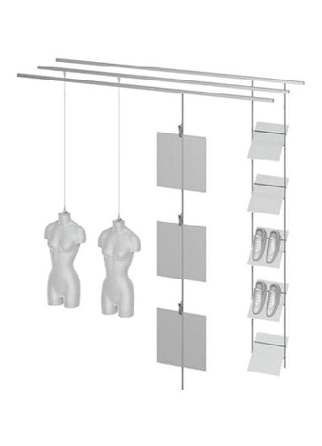"CEILING ITEM 4  Single Ceiling Channel Drywall Mount  GH206A 96"" Aluminum, Black, White, Silver  Hanging Female Form: FO114PV Size 8 Polyethylene Hardware colors: Black, White, Silver Form Colors: Black, White  Eye Hook Spring Clamps:AC631AAluminum, Black, White, Silver Eye Hook Rod: GH632A Aluminum, Black, White, Silver, White,Silver Eye Hook Slant Shoe Shelf: GH255P 12"" x 14"" x 3/8"" Frosted Plexi, Hardwarecolors:Aluminum,Black,White,Silver,White,Silver"