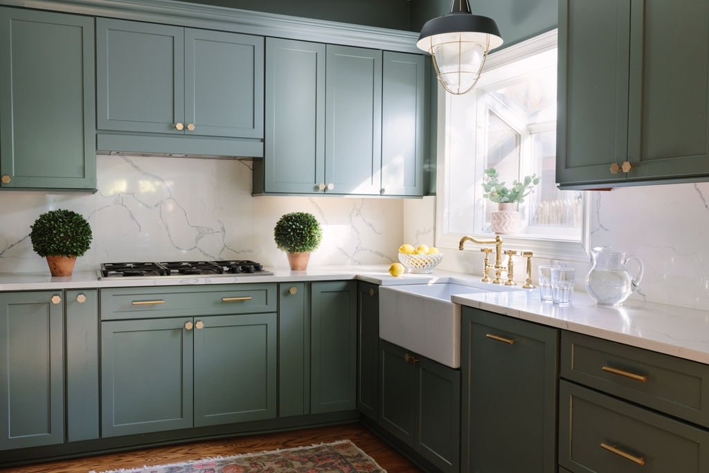 Chicago interior designer Kitchen cabinets in Farrow and Ball Green Smoke and Circa Lighting kitchen pendant