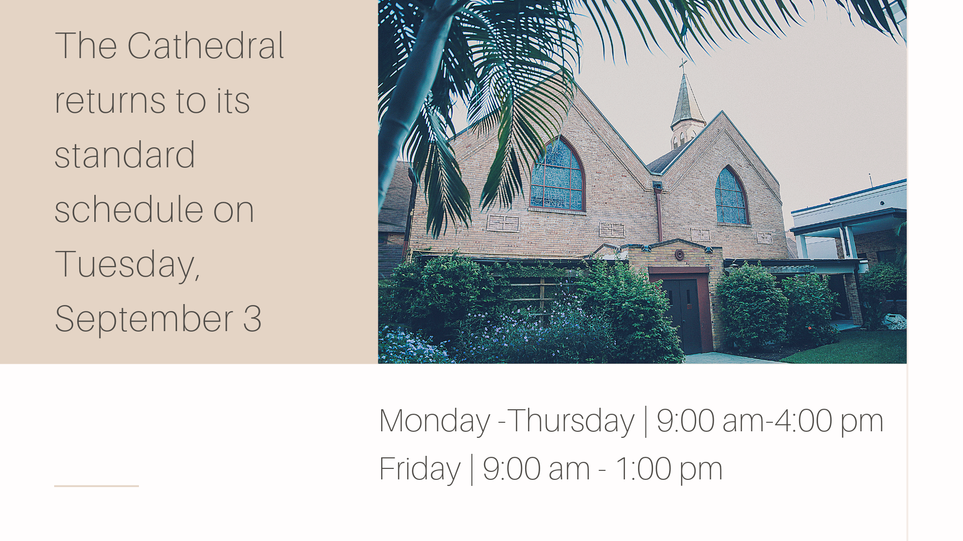 The Cathedral returns to its standard schedule on Tuesday, September 3.png