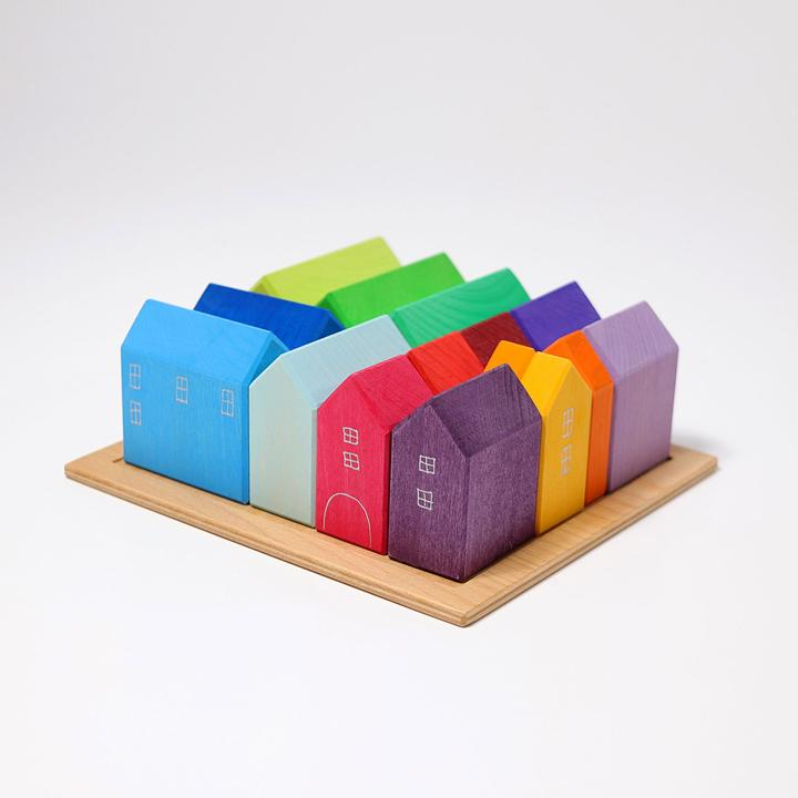 Grimm's Set of Houses - A colourful addition to small world play, train tracks, Way To Play Roads and for using with peg people.