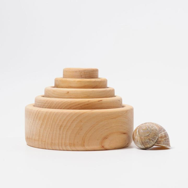Grimm's Natural Stacking Bowls - Perfect for use in the play kitchen and for sensory materials like rainbow rice.