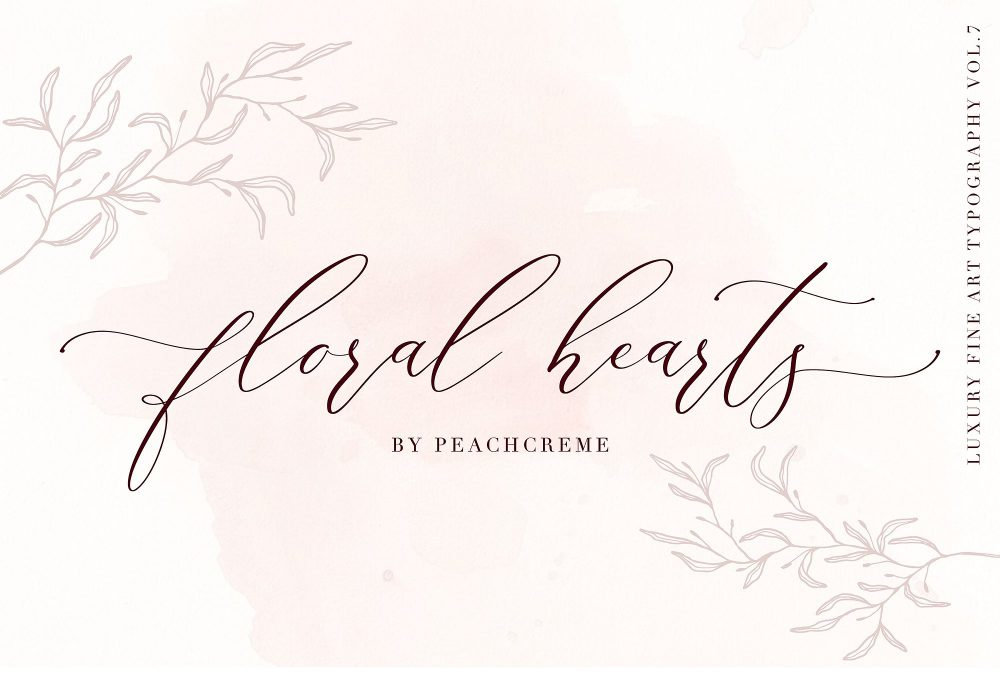 Sixty Eight Ave - 100 Stylish Fonts - Floral Hearts