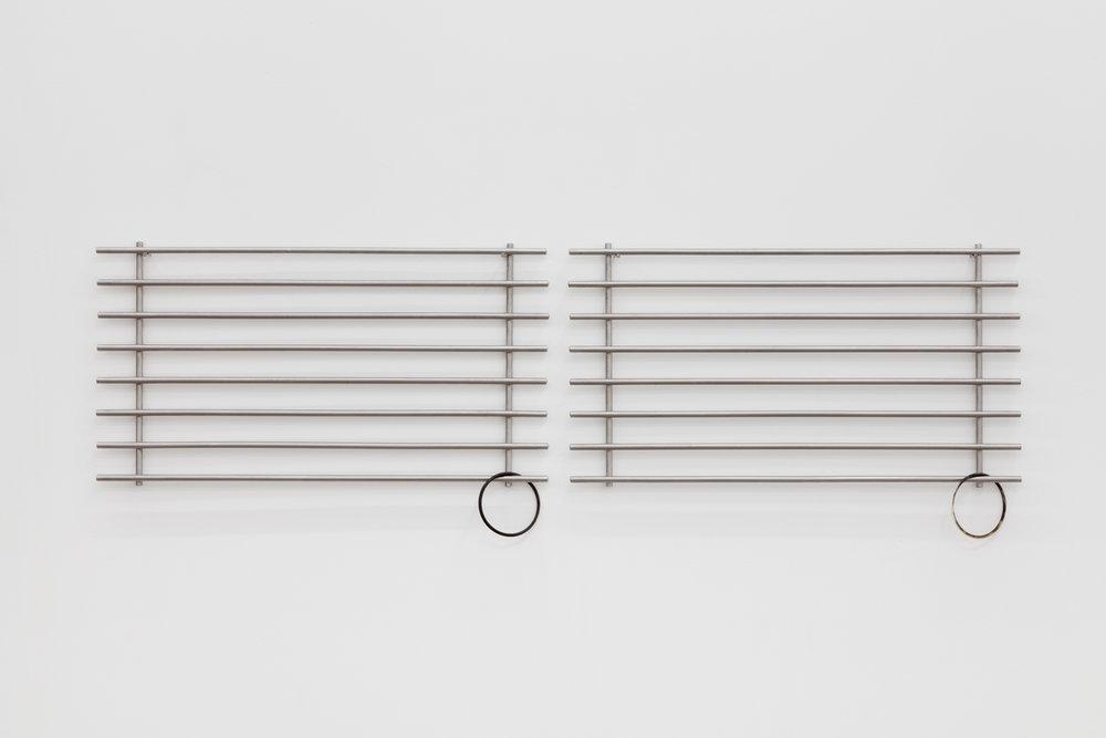 score, 2015  steel dish racks, cow horn bangles