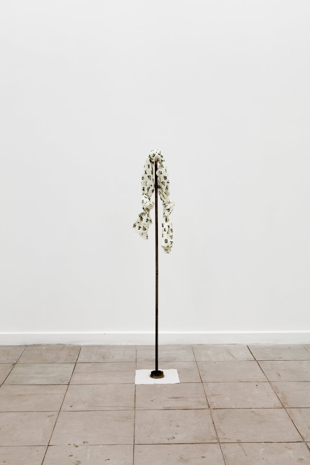 model, 2015  tissue, steel floristry frog, steel pole, printed cotton