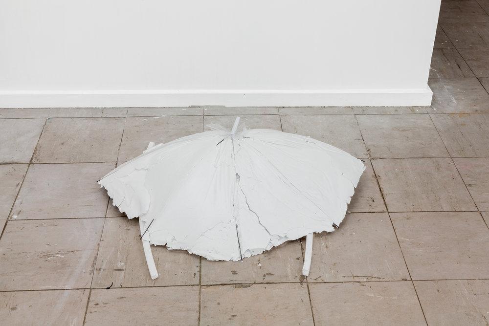 cinderella, 2015  plaster, umbrella frame, silk, polystyrene