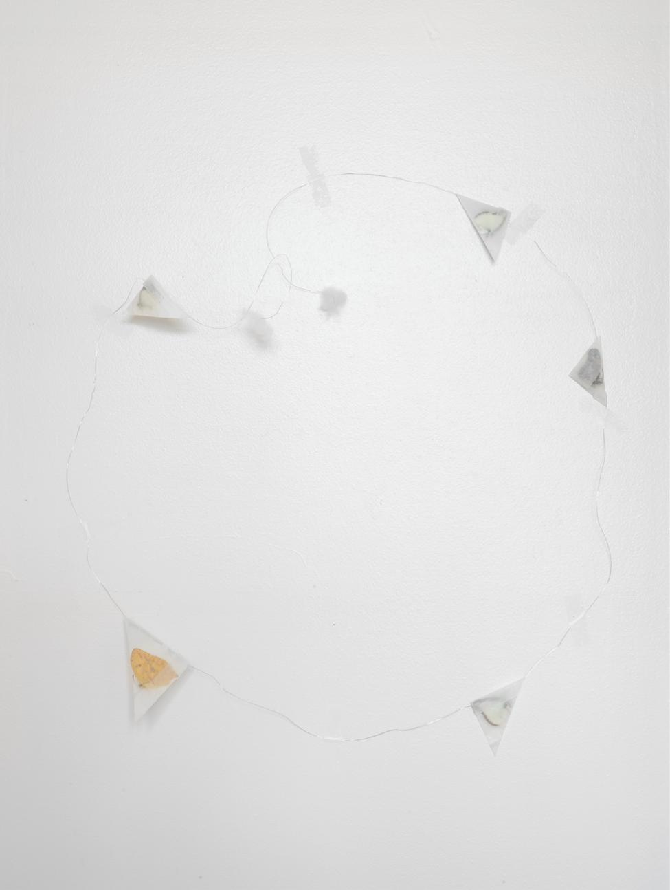 fairy answer,  2015  wire, butterfly specimen, glycine paper, cotton wool, tape