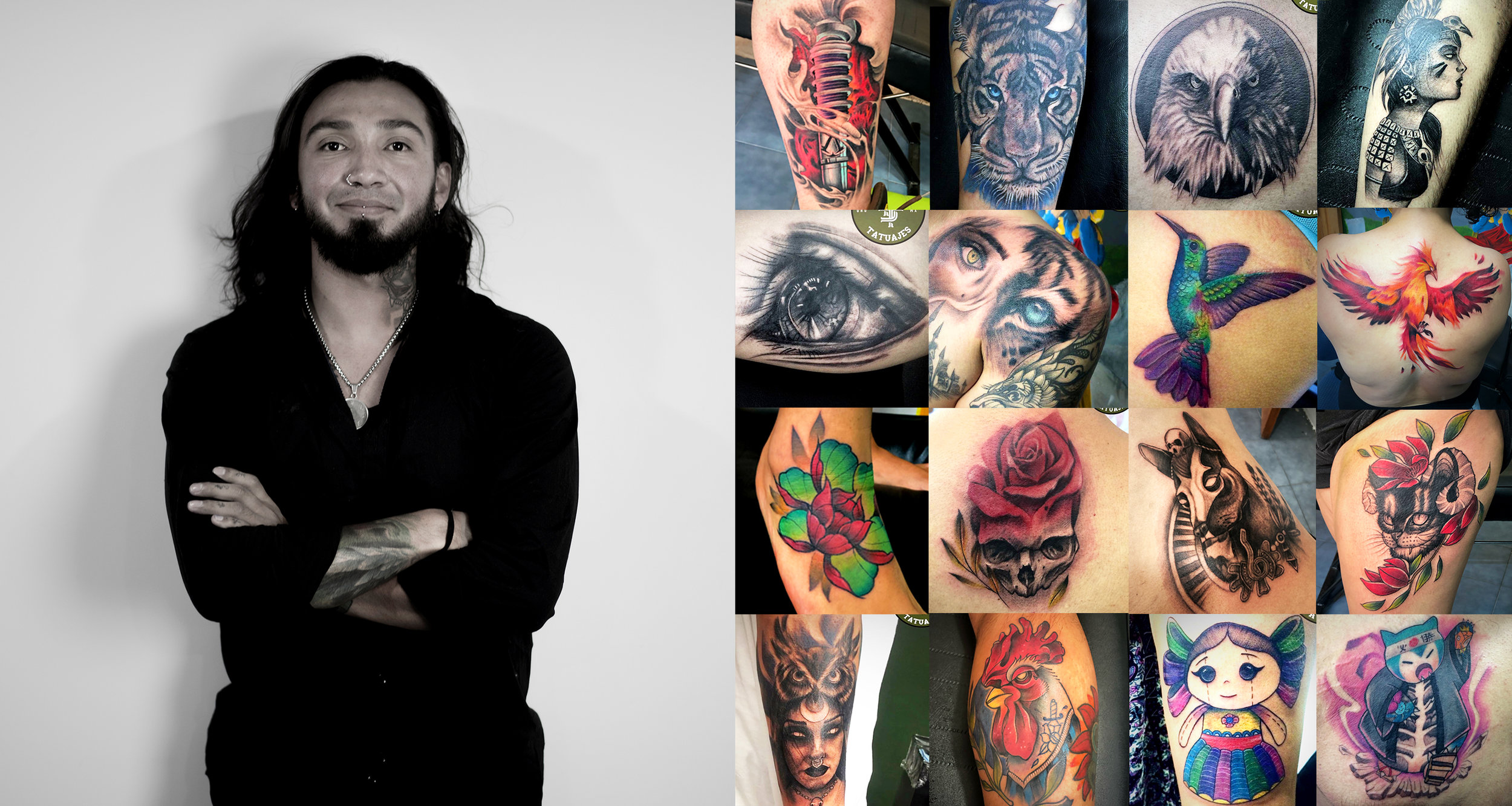 EMMANUEL   Realism, Portraits, Animals, Neotraditional, New School, Black and Grey, Illustrative tattoos, Floral tattoo, Flash.