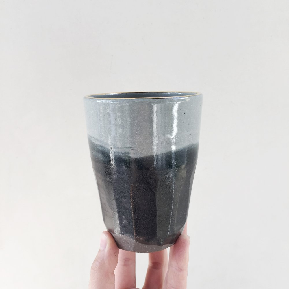 GREY WASH TALL FACETTED BEAKER WITH GOLD RIM.jpg