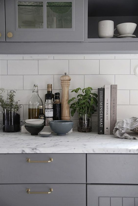 Kitchen Bench Styling. Image via  Pinterest .