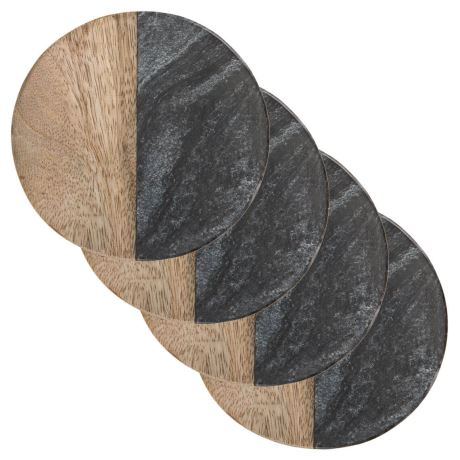 DUO Set of 4 Coasters, Black & Natural