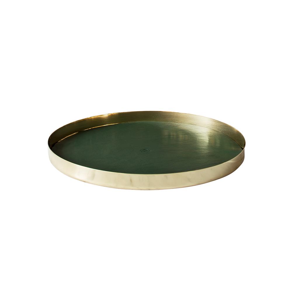 Karui Tray Ø34 cm, Dark Green Leather/Brass by Skultuna