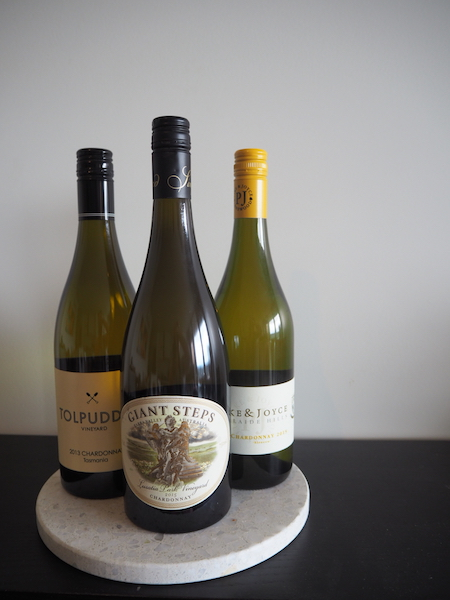 A few bottles from my collection I'm looking forward to opening.  L-R Tolpuddle Vineyard 2013 Chardonnay (TAS), Giant Steps Lusatia Park Vineyard 2015 Chardonnay (VIC), Pike & Joyce Sirocco 2015 Chardonnay (SA).