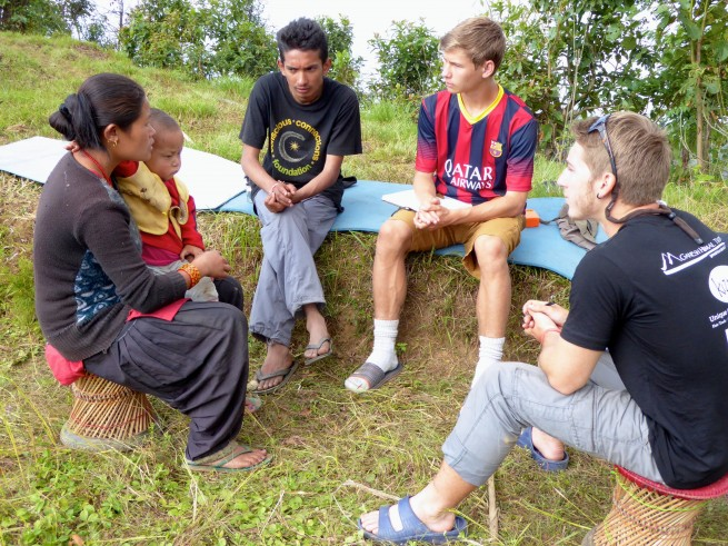 Grant, Pradeep, and I interviewing Goma Gurung, a local teacher and future owner of a model earth bag home!