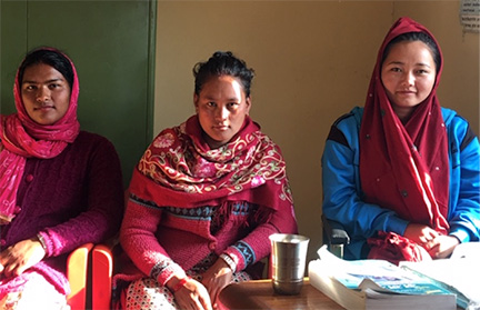 Baseri Clinic's new staff, (at left) Parbati, new clinic nurse, (center) Sita, the admin assistant, and (at right) Anita the new mid-wife.