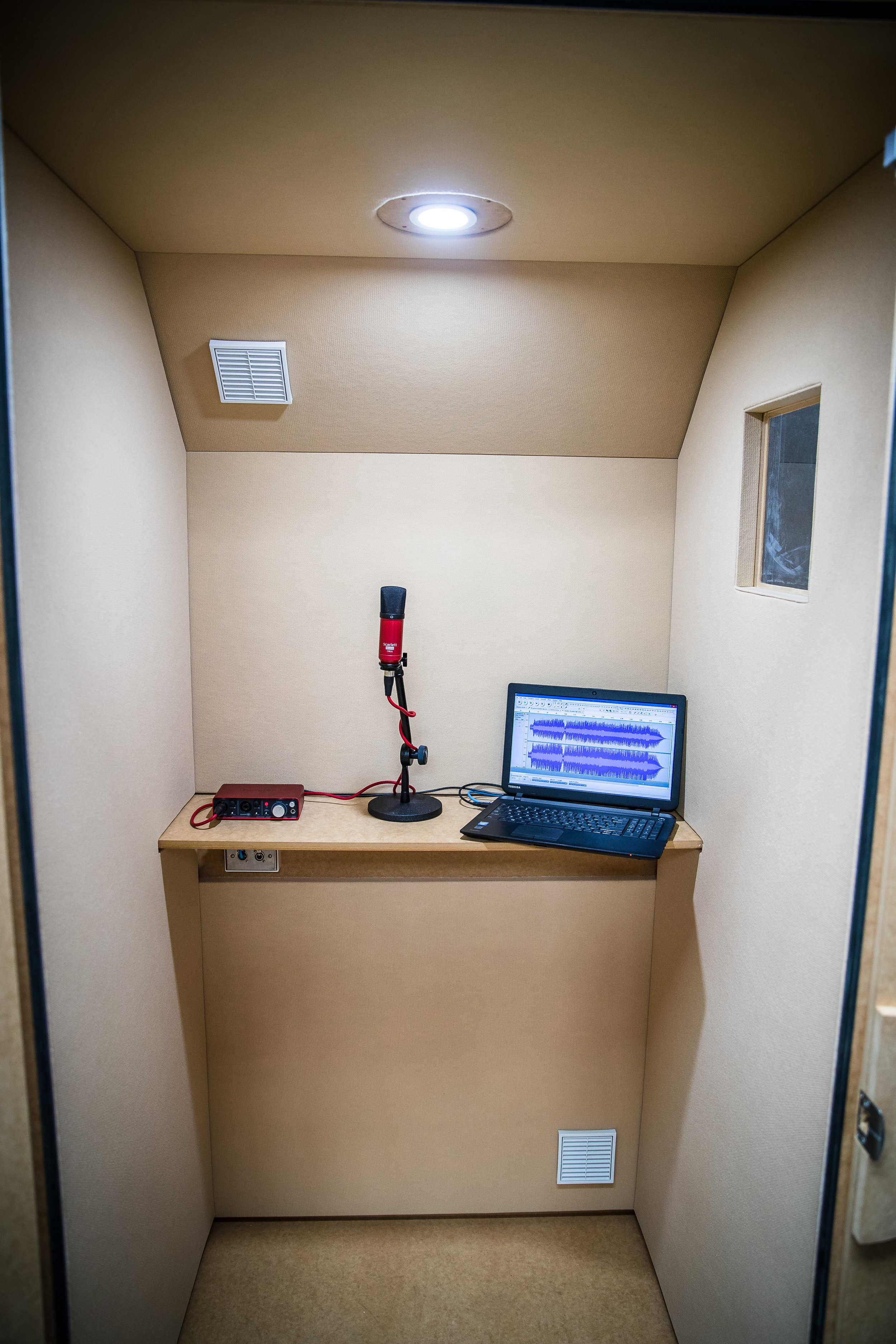 Inside vocal booth