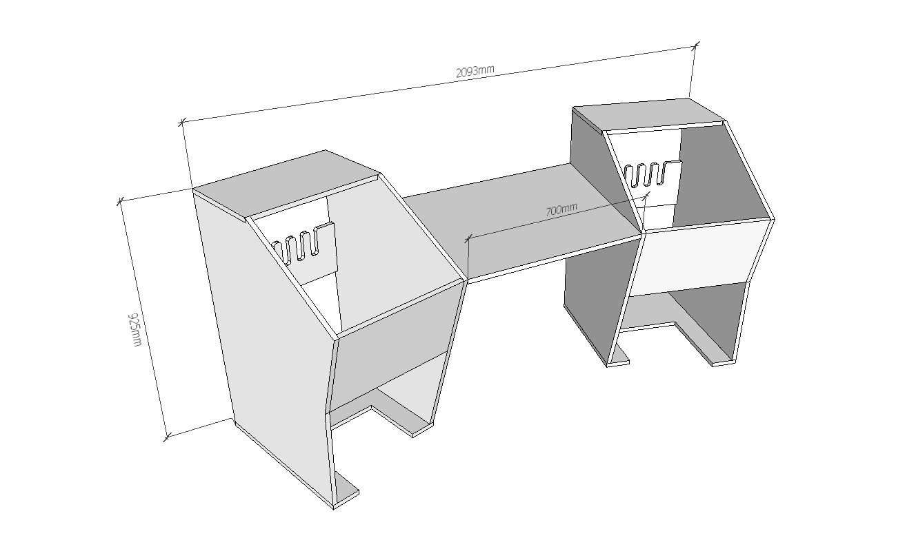 Hybrid desk dimension sample