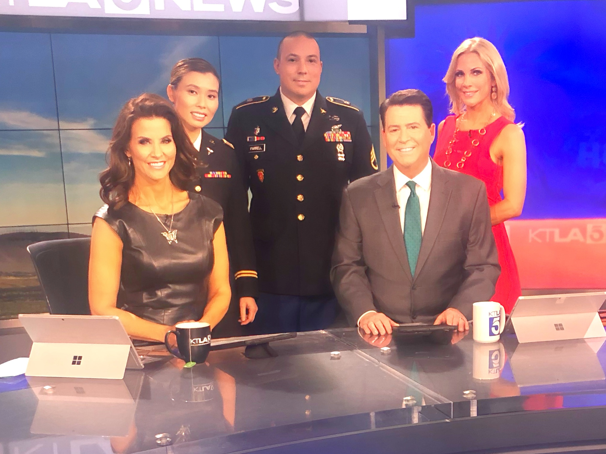 KTLA CHANNEL 5 MORNING NEWS - Donna Quach and Sergeant Chuck Farrell appearing as guests on KTLA Channel 5 Los Angeles Morning News, discussing suicide prevention and awareness among veterans.