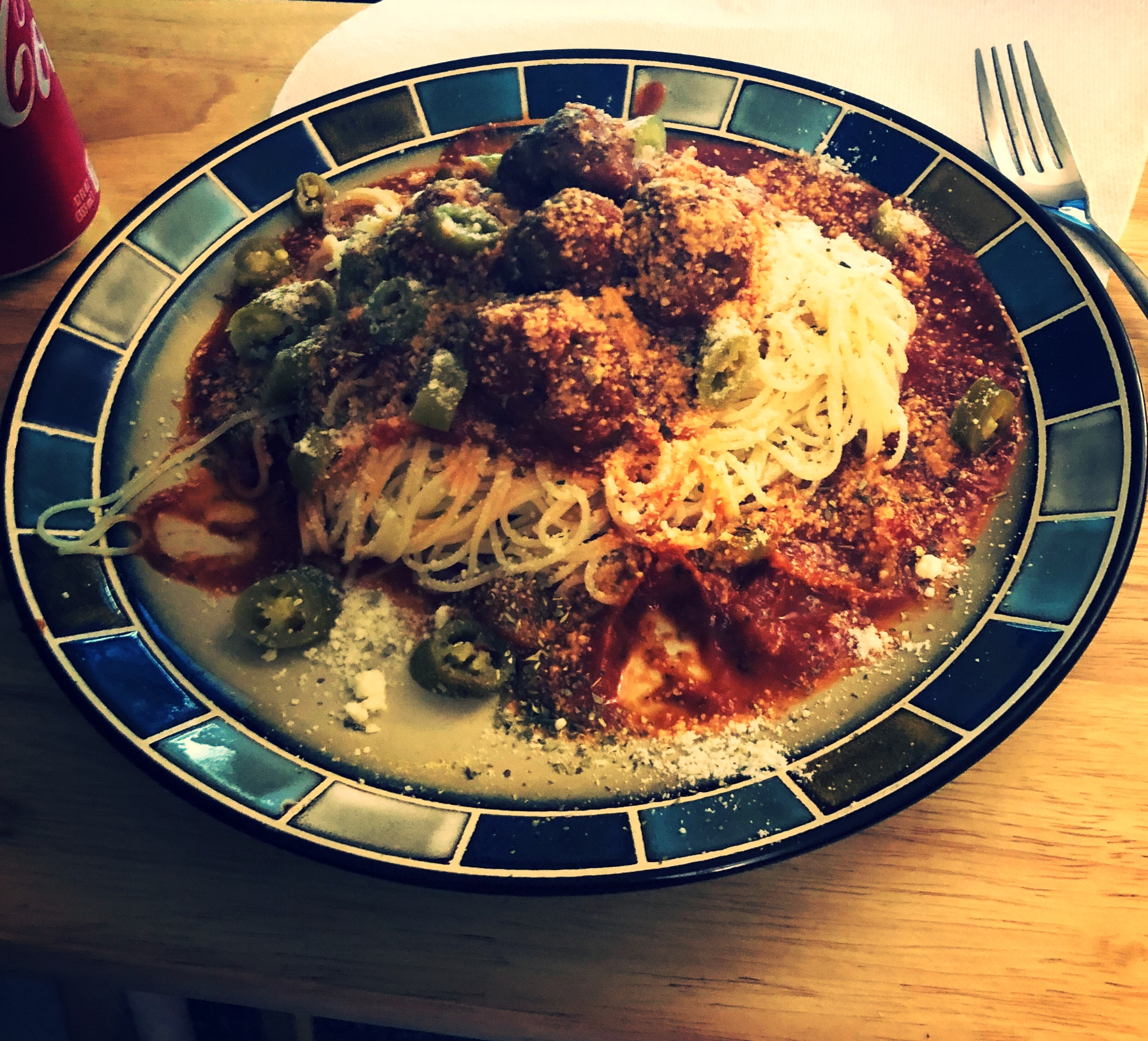 Spegetti meatballs and spicy jardinara